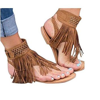 Tassels Thong Flat Sandals Huiyuzhi Womens Suede Flip Flops Fringe Shoes Synthetic sole