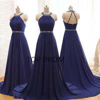 Elegant Custom made Long Chiffon Formal Blue chiffon Prom Dresses 2014 Evening Dresses Mother of the Bridal Dress,royal blue prom dress