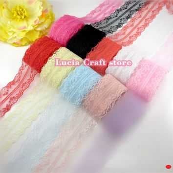35mm Multi colors options Polyamide Yarns Spliced Lace Embroidery Lace Trim 050025055