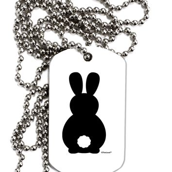 Cute Bunny Silhouette with Tail Adult Dog Tag Chain Necklace by TooLoud