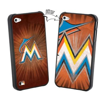 Major League Baseball-Iphone 5 MLB Miami Marlins Large Logo Lenticular Case