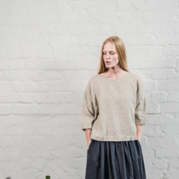 Natural linen pants / Washed women linen trousers / Slightly tapered linen pants