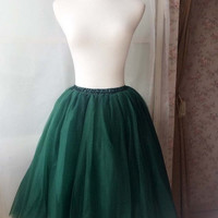 Tea Length Tulle Skirt in Emerald green Adult Tutu Skirt - Wedding Tulle Skirt, Plus size Tutus XXL,XXXL 3XL- magic1668(T1822)