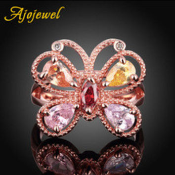 US SIZE 78 Ajojewel Brand Champagne & Pink Zircon Crystal Gold Butterfly Ring Costume Jewelry For Ladies