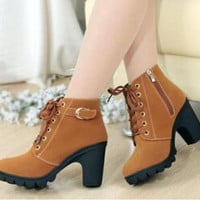 power me  high and thick with leisure ladies boots Sponge thick bottom short boots Women's shoes