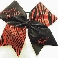 CHEER BOW - PRETTY LITTLE FLYER - BLACK METALLIC / RED & BLACK METALLIC HOLGRAM - BIG 3 inch wide base cheer bow - Team bulk order by request other colors available just ask
