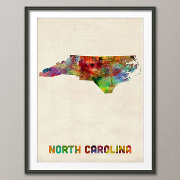 North Carolina Watercolor Map USA, Art Print (382)