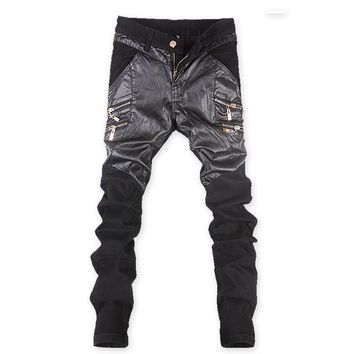 Men's Skinny Leather Pants Motorcycle Faux Leather Stitching Brand Sweatpants Jeans 9 styles