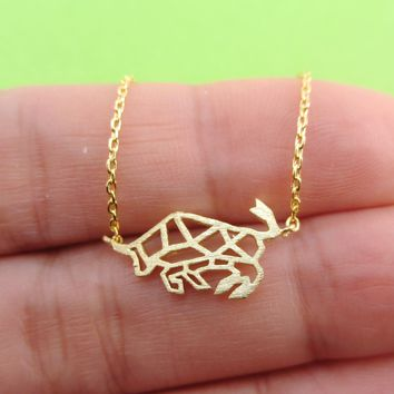 Shorthorn Bull Cow Cattle Outline Shaped Pendant Necklace in Gold or Silver