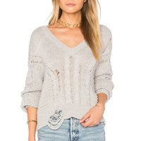 Wildfox Couture Textured Sweater in Heather Grey   REVOLVE