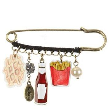 Fast Food Charm Hungry French Fries Ketchup Crystal Stone Pin And Brooch