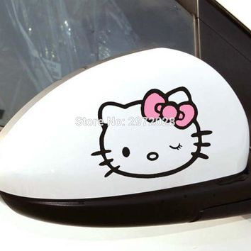 2 x Funny Car Styling Hello Kitty Decorations Car Stickers Rearview Mirrors Feul Tank Cap Decals Waterproof Vinyl Four Colors