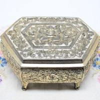Rose Design Metal Jewelry Box with Red Velveteen Trapezoid Shape
