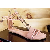 So Me Beverly Soft Rope Ankle Wrap Flat Sandal Shoe 6-10 Mauve Rose