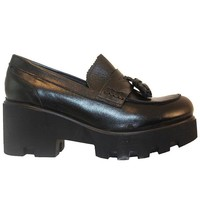 Ethem - Black Leather Chunky Platform Tassel Loafer