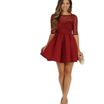Burgundy It's Love Skater Dress