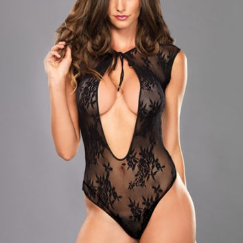 Lace G-String Teddy With Keyhole