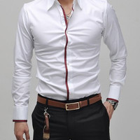 Turn-down Collar Button Down Long Sleeves Shirt