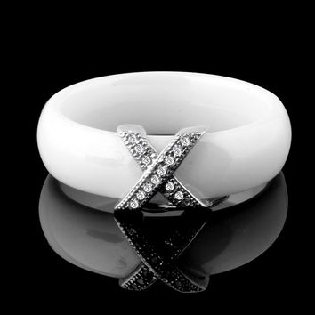 Jewelry Women Ring With AAA Crystal 6 mm X Cross Ceramic Rings Men Plus Big Size 10 11 12 Wedding Ring Gift