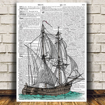 Nautical poster Victorian print Ship print Dictionary decor RTA1155