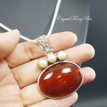 Sterling Silver Carnelian Necklace  Large Red Carnelian Necklace  Vintage Gemstone Antique Carnelian Necklace  Root Chakra Healing