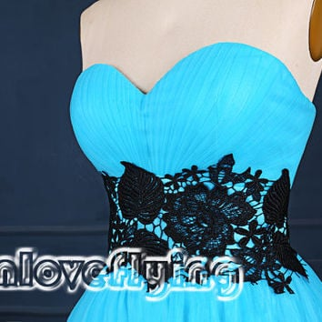 Unique Light blue shorthomecoming dress with black lace,2015 short prom dresses,mini dress,short cocktail party dresses,sweet 16 dress