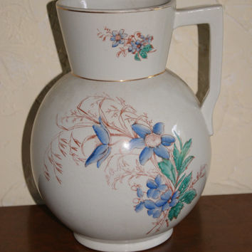 Vintage Steubenville Potteries Co Water Jug Or Pitcher Transferware With Hand Painted Decorations Floral Motif 1880s