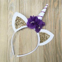 Unicorn Horn Headband with Glitter Ears and Flower Accents with Purple Stripe