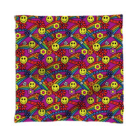Rainbow Smiley Hippie Pattern Scarf created by HippyGiftShop | Print All Over Me