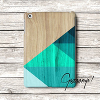 iPad Air Case Triangle Wood Teal iPad 5 Case iPad 3 Case iPad 4 Cover iPad Mini case iPad Mini 2 Case