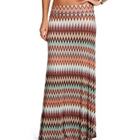 Tan/Mint/Rust Chevron Maxi Skirt