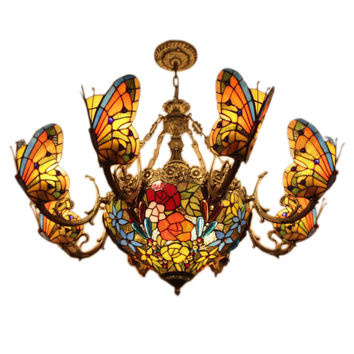 Creative Tiffany Pendant Light Stained Glass Butterfly Lamp European Style Bedroom Hotel Club Bar Drawing Room Pendant Lamp