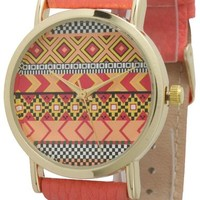 Ladies Aztec Print Leather Watch - Coral