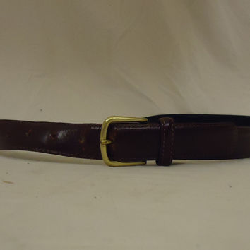 Designer Belt 33in-37in Brass Buckle Leather Female Adult M/L Browns Solid -- Preowned