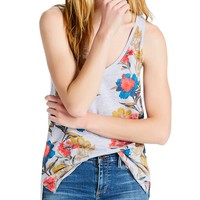 Lucky Brand Placed Floral Tank Blue Multi