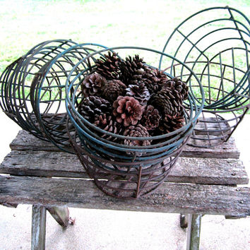 Wire Basket Industrial Decor Rustic Cabin Farmhouse Bowl Country Kitchen