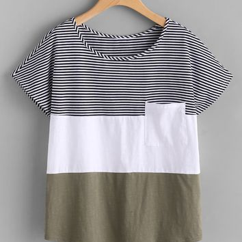 Patch Pocket Front Cut And Sew T-shirt OLIVE