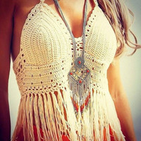 Handmade Crochet Bikini Swimsuit Halter Bathing Suit Beah Wear Sexy Knit Swimwear = 6002251457