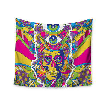 "Roberlan ""Skull"" Rainbow Illustration Wall Tapestry"