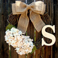 Creamy White Hydrangea Monogrammed Wreath - Initial Wreath - Personalized Wreath - Wedding Decor - Monogram Wreath - Door Wreath - Wreath