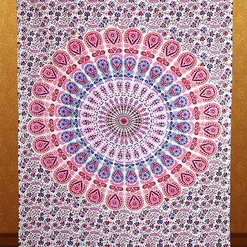 Peacock Mandala Tapestry Hippie Wall Hanging Hippie Tapestries Bohemian Boho Tapestry Cotton Wall Hanging Indian Cotton Bedspread Bed Sheet