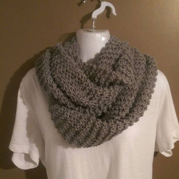 Grey Chunky Infinity Scarf, Women's Scarves, Grey Winter Scarf