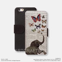 Elephant butterflies vintage iPhone Samsung Galaxy leather wallet case cover 066