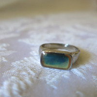 Ring Silver Plate Blue Stone