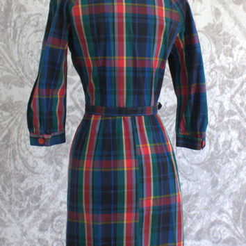 Vintage 50s Dress 1950s Wiggle Dress Red Plaid Cotton Fitted Peter Pan Collar Day Dress Womens Size Medium Large