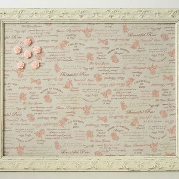 Ruru Bouquet Rose fabric Shabby Chic Distressed Framed Magnetic Memo Board