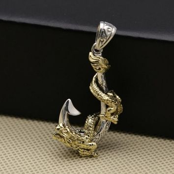 100% Real 925 Sterling Silver Rock Pirate Dragon Anchor Pendant