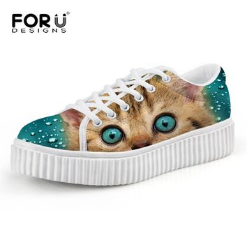 Casual Women Flats Shoes Cute Animal Cat Print Women Creepers Shoes Lace Up Female Lad