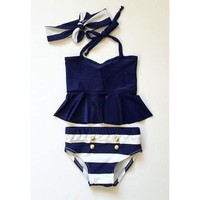 Baby Button Striped Bathing Suit