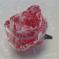 Red and White Flower Ribbon Hairbow